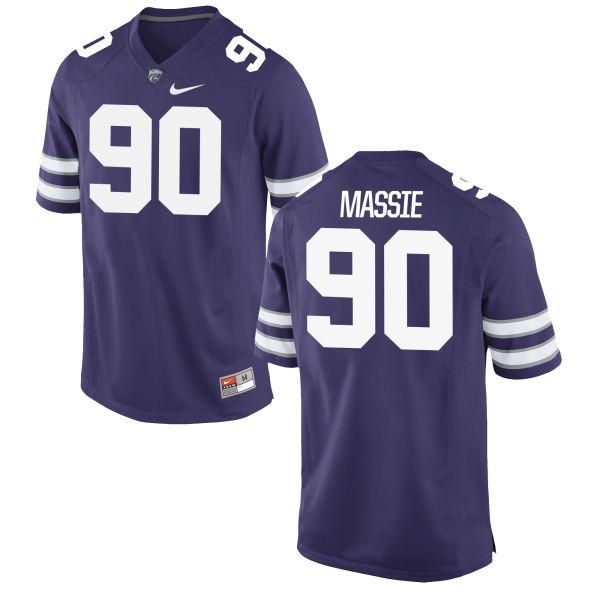 Men's Nike Bronson Massie Kansas State Wildcats Game Purple Football Jersey