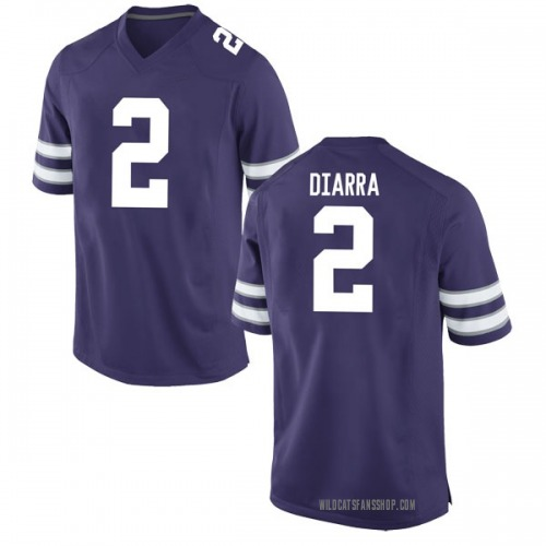Men's Nike Cartier Diarra Kansas State Wildcats Game Purple Football College Jersey