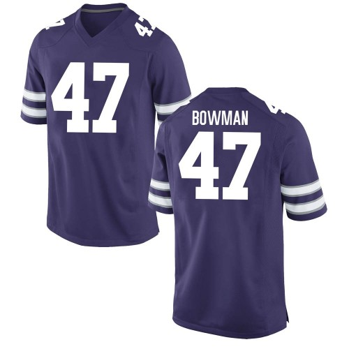 Men's Nike Derek Bowman Kansas State Wildcats Game Purple Football College Jersey