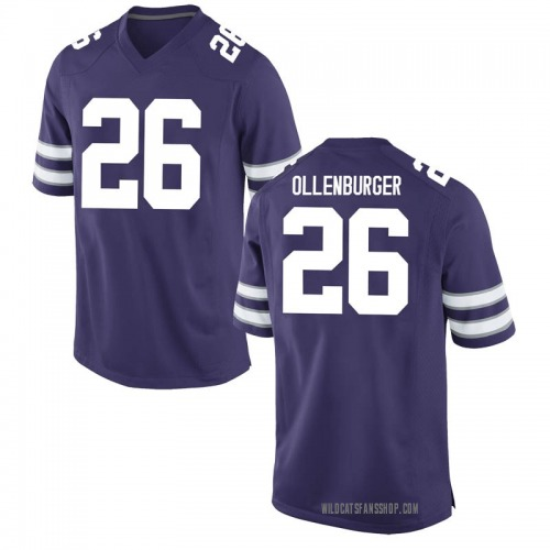 Men's Nike Elliot Ollenburger Kansas State Wildcats Game Purple Football College Jersey