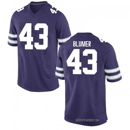 Men's Nike Jack Blumer Kansas State Wildcats Game Purple Football College Jersey