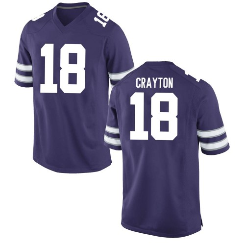Men's Nike Jay Crayton Kansas State Wildcats Game Purple Football College Jersey