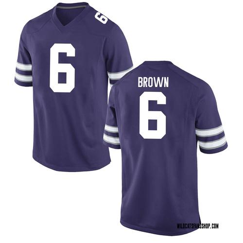 Men's Nike Jordon Brown Kansas State Wildcats Game Purple Football College Jersey
