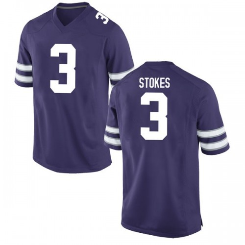Men's Nike Kamau Stokes Kansas State Wildcats Game Purple Football College Jersey