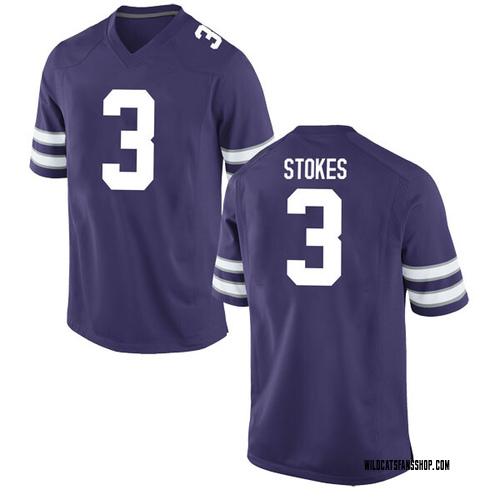 Men's Nike Kamau Stokes Kansas State Wildcats Replica Purple Football College Jersey