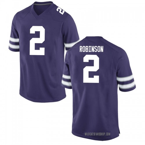 Men's Nike Lance Robinson Kansas State Wildcats Game Purple Football College Jersey
