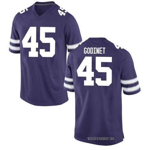 Men's Nike Reed Godinet Kansas State Wildcats Replica Purple Football College Jersey