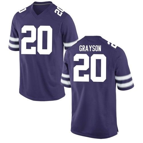 Men's Nike Thomas Grayson Kansas State Wildcats Game Purple Football College Jersey