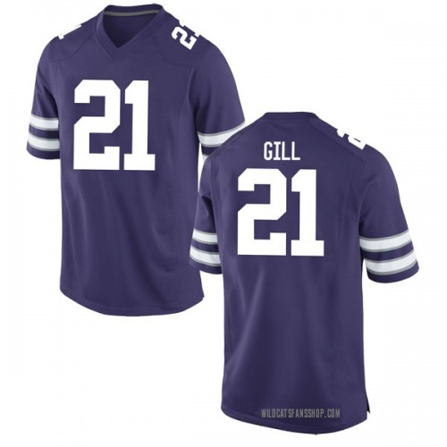 Men's Nike Wykeen Gill Kansas State Wildcats Game Purple Football College Jersey