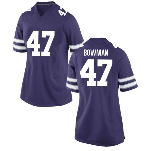 Women's Nike Derek Bowman Kansas State Wildcats Game Purple Football College Jersey