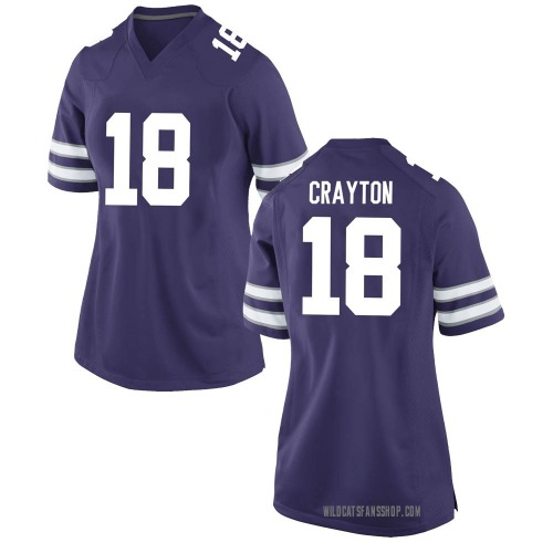 Women's Nike Jay Crayton Kansas State Wildcats Game Purple Football College Jersey