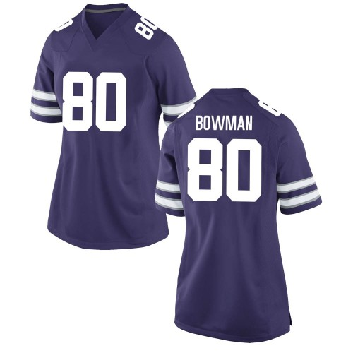 Women's Nike Ty Bowman Kansas State Wildcats Game Purple Football College Jersey