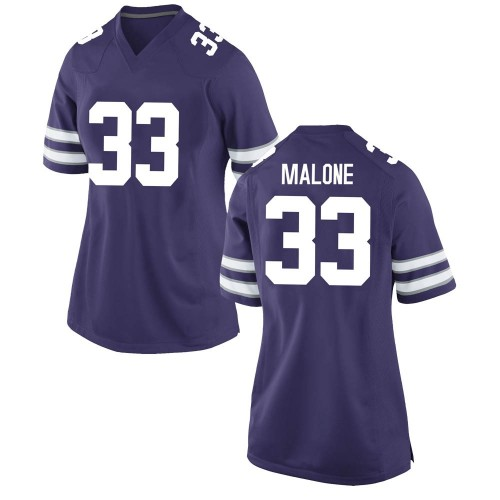 Women's Nike Vaughn Malone Kansas State Wildcats Game Purple Football College Jersey