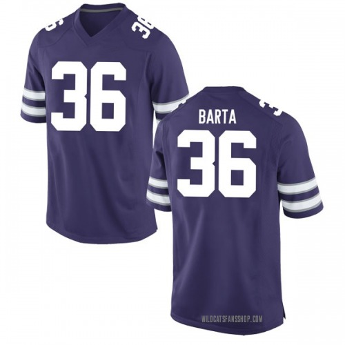 Youth Nike Mason Barta Kansas State Wildcats Game Purple Football College Jersey