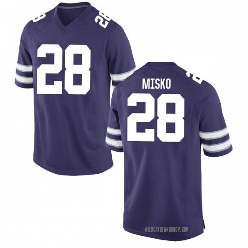 Youth Nike Spencer Misko Kansas State Wildcats Game Purple Football College Jersey