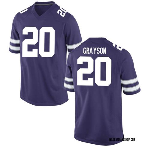 Youth Nike Thomas Grayson Kansas State Wildcats Game Purple Football College Jersey